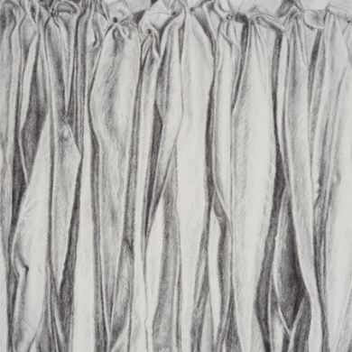 "Unfolding #2, 2012, graphite on paper, 11"" x 14"""