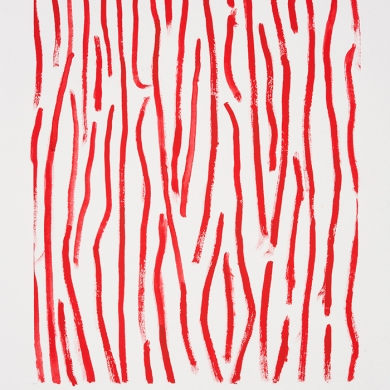 Red line studies #1, gouache on paper, 11 1/2 in x 15 in